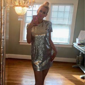 Silver short sleeved sequin mini dress by Express